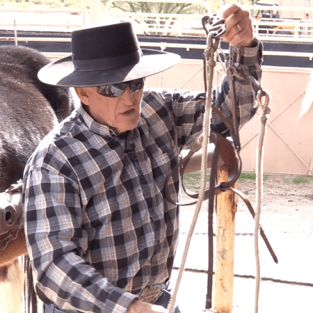 Steve Edwards demonstrating the Mule Rider's Martingale Bridle and Bit